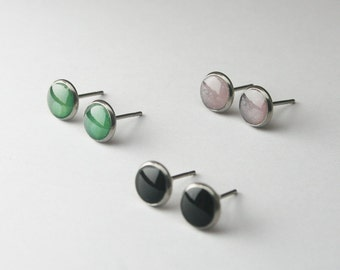 Small Circle Studs, Simple Everyday Minimalist studs, Framed Stainless Steel Glossy Dot Post, Jade Green, Black Tiny Studs, Hypoallergenic
