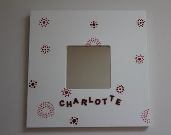 Decorative Wall Mirror - with pretty patterns and circles.  Name can be added to personalise the mirror. By Dotty Rainbow