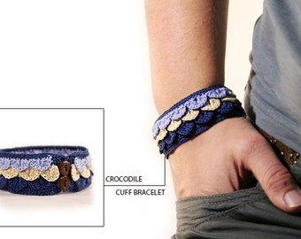Crocodile stitch - bracelet - cuff bracelet - crochet cuff - crochet jewelry - fiber bracelet - womens gift - MudenoMade