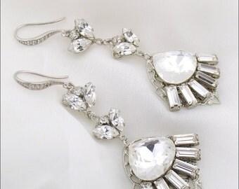 Wedding earrings - statement rhinestone earrings - bridal jewelry - crystal chandelier earrings - wedding jewelry earrings - Hayley earrings