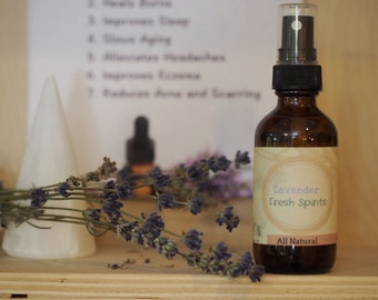 Lavender Mist - All Natural Relaxing, refreshing Lavender Spray - 100% Pure Lavender Oil
