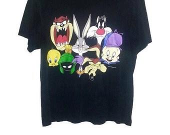 Vintage Looney Tunes Tshirt 1993 Warner Bros Bugs Bunny Tweety Bird Tasmanian Devil Sylvester Wile E Coyote Elmer Fudd Road Runner Large