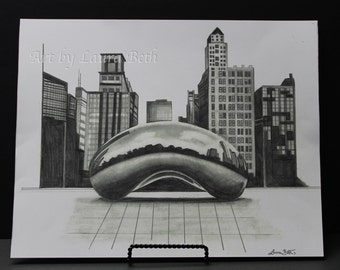 The Bean Chicago, Print, 11x14in