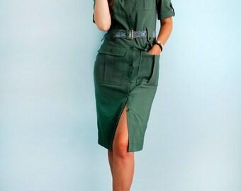Safari dress Cotton dress with short sleeves Safari dress Military dress