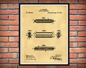 Patent 1897 Harmonica by Hohner - Wall Art - Musical Instrument - Blue Grass Art - Juice Harp - Mouth Organ