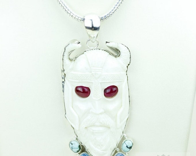 Glowing Red Eye Viking THOR TOTEM Goddess Face Moon Face Bone Carving 925 S0LID Sterling Silver Pendant + 4MM Chain p3911