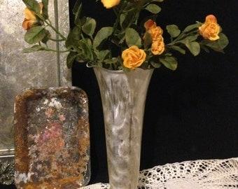 """Silver Fluted Vase Trumpet Bud Vase Vintage Brushed Sterling Silver Elegant Floral Centerpiece  Wedding Centerpiece 8.5"""" Tall Flower Vase"""