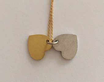 Two Color Heart Silver Necklace.
