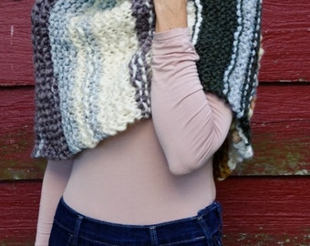 New! Knit shrug, womens shrug, womens cowl, Artisan shrug, cowl and bulky scarf. Multi colored and textured, American made