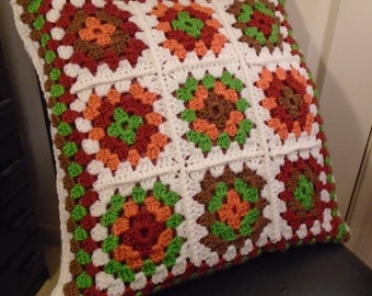 Earthy Granny Square Pillow