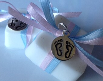 Soap Baby Shower Favors - 20 soap favors with metal baby feet charm, choice of ribbon FREE SHIP