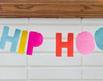 hip hip hooray -- felt banner / garland // birthday party banner, party decor, hooray celebration, colorful party decor, word banner garland