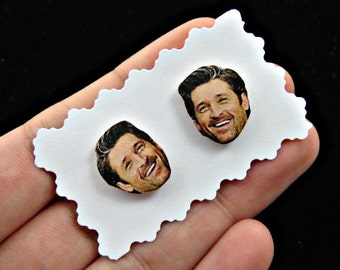 dr derek shepherd earrings - mcdreamy earrings - celebrity earrings - greys anatomy - face earrings