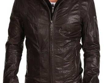 Men dark brown hooded leather jacket, Men hooded jacket