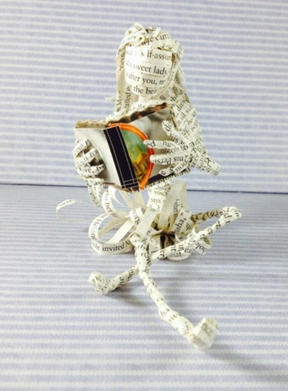 Book lover, book sculpture, wedding cake topper, repurposed book, Tolstoy, War and Peace, reader, paper sculpture, book art,