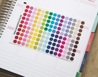 "150 tiny dot stickers, 0.25"" round stickers, circle stickers, planner stickers, color coding checklist eclp filofax happy planner kikkik"
