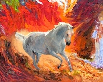 white hoese running with jewel colored background