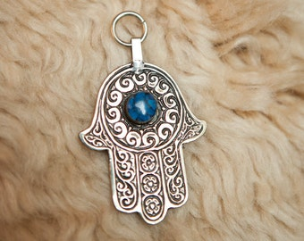 MOROCCAN HAMSA Silver Hand of Fatima Wall Hanging or Keychain