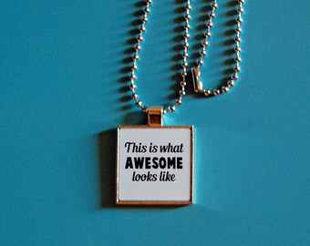 Awesome pendant, this is what awesome looks like, funny jewelry, silver necklace, square jewelry, sarcasm, funny jewelry, square pendant