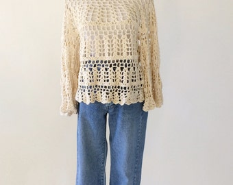 VTG Hand Crocheted Pullover Cream Sweater with Bell Sleeves
