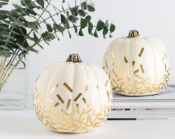 Gold Confetti Pumpkin, Gold Stripe Pumpkin, White Pumpkin Decor, Thanksgiving Pumpkin Decor, Ombre Pumpkin