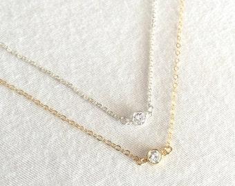 Tiny CZ Necklace, Silver or Gold CZ Necklace, Dainty CZ Necklace, Minimalist Necklace, Bridesmaid Necklace, Everyday Necklace, Stamped Eve