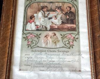 Vintage Framed Baptism Certificate in Polish 1926