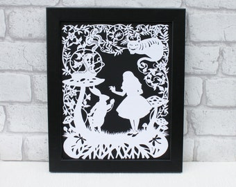 Alice in wonderland wall art , Alice handcut papercut,Alice in wonderland print, Alice in wonderland wedding theme, we're all mad here.