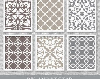 Neutral Wall Art, Printable Wall Art, Office Wall Decor, Mandala Prints, Office Wall Art, Living Room Art, Set of 6 Prints, Digital Prints