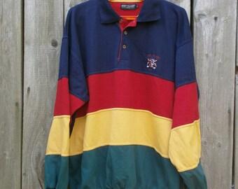 vintage long sleeve half button sweatshirt