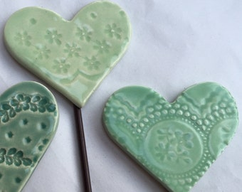 Green Heart Garden Stakes Set of Three for your Valentine