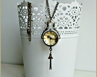 Pocket watch necklace, Antique bronze pocket watch, Vintage pocket watch, Orb watch necklace