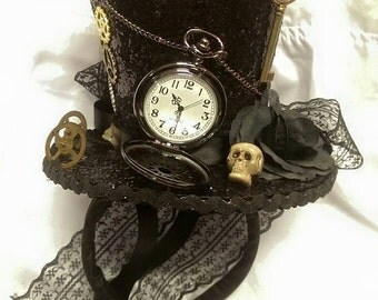 Steampunk Time Halloween Gothic Cosplay Black Mini Top Hat Real Pocket Watch Clocks Wheels Keys Skulls Rose Alice Through The Looking Glass
