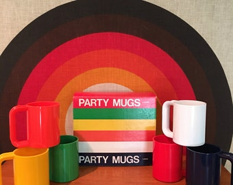 Vintage INGRID Party Mugs, Set of 6, New Old Stock, Retro Plastic Mugs, Colorful Plastic Mugs by Ingrid, Chicago, Retro Rainbow Colored Cups