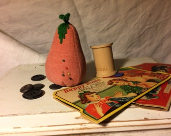 Vintage Velvet Pink Stuffed Pear Pin Cushion with Needlepoint Leaves