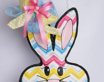 Easter Bunny Chevron Burlap Door Hanger Decoration and Wreath Replacement