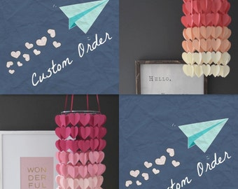 Modern Ombre Heart Paper Mobile Chandelier. Choose your colors!