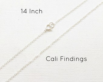 "Sterling Silver 14"" Finished Flat Cable Chain Necklace, 1.3mm, 1Pc, Wholesale, Finished Necklace, Silver Chain, Bulk Chain, 14 inch [4135]"