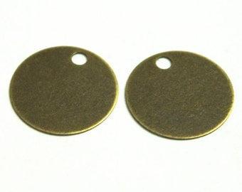 20 pcs 20mm One Side Hole Round Brass Antique Bronze Color ( hole diameter : 3 mm )