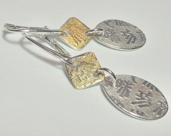 Fine Silver and 24K Gold Teardrop Script Earrings