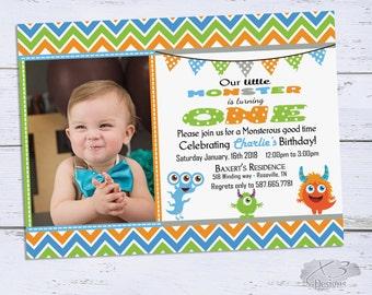 Monster Birthday Invitations, Boy Birthday Invites, Little Monster 1st Birthday Invitation, First Birthday Printable