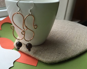 Hammered Copper Dangle Earring with a Brown Bead