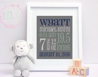 Newborn Birth Stats, Baby Boy Birth Announcement, Baby Stats Wall Art, Nursery Decor {Custom DIGITAL FILE ONLY}