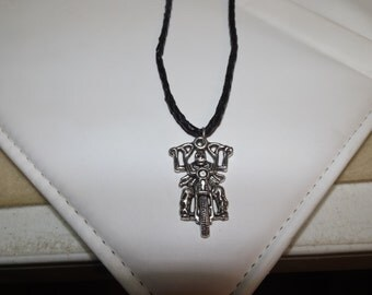 Skeleton on a Motorcycle Leather Necklace