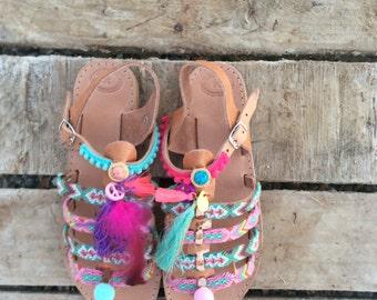 Boho Gladiator Sandals, Leather Pom Pom Sandals, Greek Sandals, Pom Pom sandals, Summer sandals, Bohemian sandals, Friendship Sandals, Flats