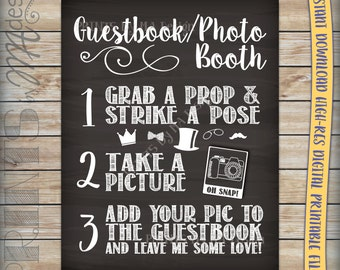 Guestbook Photo Booth Chalkboard Sign, Party Birthday Celebration Graduate, Snap a photo & add it to the guestbook, Instant Download Print