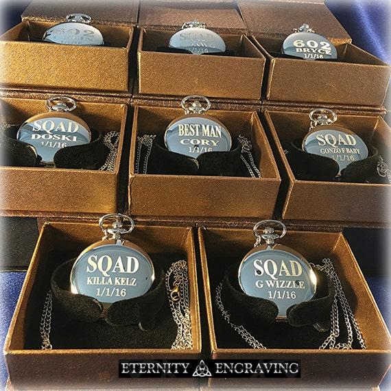 groomsmen gift 9 laser engraved pocket watches vintage