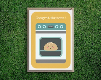 Greeting Cards | Bun in the Oven, Expecting, Congratulations, Baby, Girl, Boy, Mother, Baby Announcement, Shower