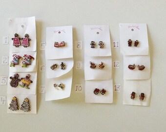 Christmas Gingerbread Stud Earrings