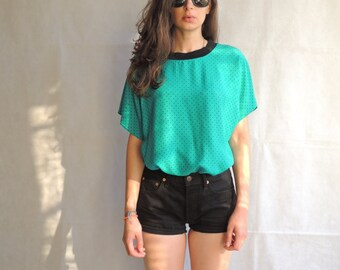 Vintage 80s 90s Short Sleeve Emerald Green Black Polka Dot Print Cotton Shirt